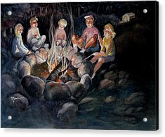 Roasting Marshmallows Acrylic Print by Marilyn Jacobson