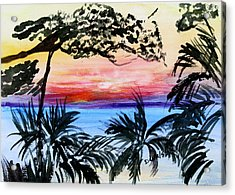 Roatan Sunset Acrylic Print by Donna Walsh