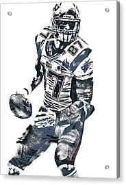 Rob Gronkowski New England Patriots Pixel Art 2 Acrylic Print by Joe Hamilton