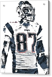 Rob Gronkowski New England Patriots Pixel Art 3 Acrylic Print by Joe Hamilton
