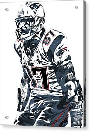 Rob Gronkowski New England Patriots Pixel Art 4 Acrylic Print by Joe Hamilton
