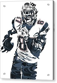 Rob Gronkowski New England Patriots Pixel Art 5 Acrylic Print by Joe Hamilton
