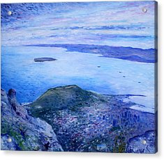 Robben Island From Table Mountain Cape Town South Africa Dawn 2000  Acrylic Print by Enver Larney