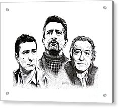 Robert De Niro Pen And Ink Drawing In Black And White Acrylic Print by Mario Perez