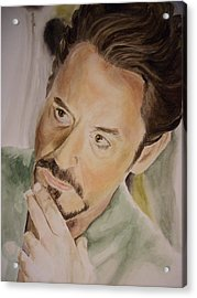 Robert Downey Jr Iron Man Acrylic Print by Angela Schwengler