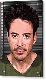Robert Downey Jr Mug Shot 2001 Color Long Acrylic Print by Tony Rubino