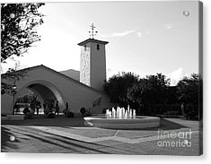 Robert Mondavi Napa Valley Winery . Black And White . 7d9029 Acrylic Print by Wingsdomain Art and Photography