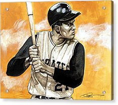 Roberto Clemente Acrylic Print by Dave Olsen