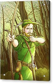 Robin  Hood In Sherwood Forest Acrylic Print by Reynold Jay