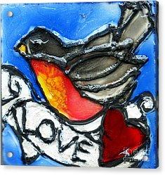 Robin With Heart Acrylic Print
