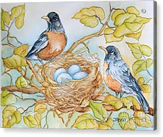 Robins Nest Acrylic Print by Inese Poga