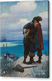 Robinson Crusoe Saved Acrylic Print by Newell Convers Wyeth