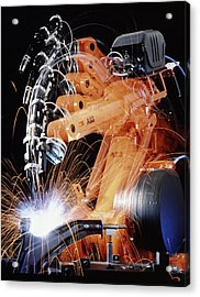 Robot Arm Spot-welding A Car Suspension Unit Acrylic Print by David Parker