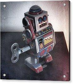 #robot #cyber #cyborg #steampunk Acrylic Print