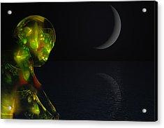 Robot Moonlight Serenade Acrylic Print by David Lane