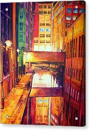 Rochdale Canal With Lock At Night Acrylic Print