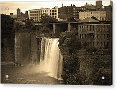 Acrylic Print featuring the photograph Rochester, New York - High Falls 2 Sepia by Frank Romeo
