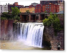 Rochester New York High Falls Expressionist Effect Acrylic Print