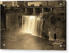 Acrylic Print featuring the photograph Rochester, New York - High Falls Sepia by Frank Romeo