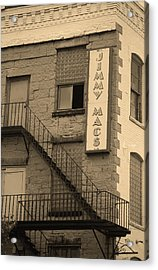 Acrylic Print featuring the photograph Rochester, New York - Jimmy Mac's Bar 2 Sepia by Frank Romeo