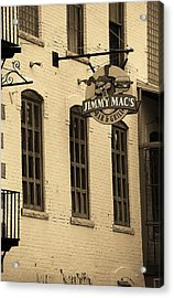 Acrylic Print featuring the photograph Rochester, New York - Jimmy Mac's Bar 3 Sepia by Frank Romeo