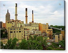 Rochester, Ny - Factory And Smokestacks 2005 Acrylic Print by Frank Romeo