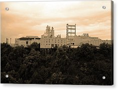 Acrylic Print featuring the photograph Rochester, Ny - Factory On A Hill Sepia by Frank Romeo