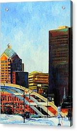 Rochester New York Late Winter Acrylic Print by Jodie Marie Anne Richardson Traugott          aka jm-ART