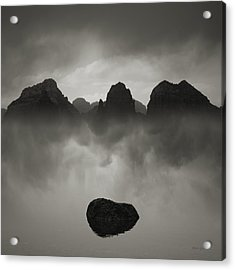 Rock And Peaks Acrylic Print by Dave Gordon
