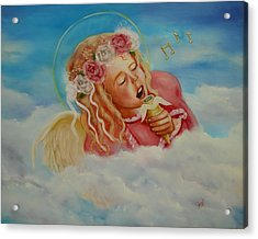 Acrylic Print featuring the painting Rock And Roll Angel by Joni McPherson