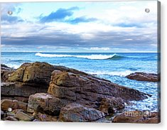 Acrylic Print featuring the photograph Rock And Wave by Perry Webster