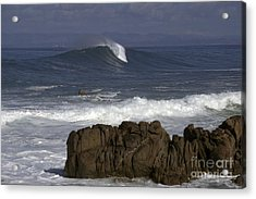 Rock And Wave Acrylic Print by Stan and Anne Foster