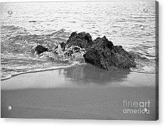 Rock And Waves In Albandeira Beach. Monochrome Acrylic Print