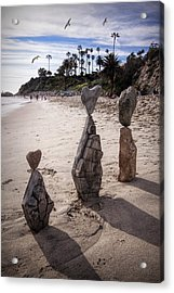 Rock Art Installation On Laguna Beach Acrylic Print