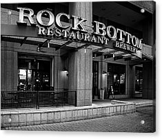 Rock Bottom Restaurant And Brewery In Black And White Acrylic Print by Greg Mimbs