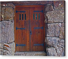 Acrylic Print featuring the photograph Rock Building Doors by Tammy Sutherland