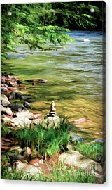 Acrylic Print featuring the photograph Rock Cairn Along The Bluestone River by Kerri Farley