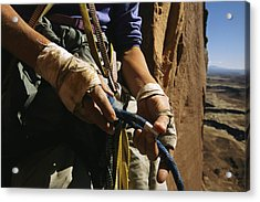 Rock Climber Becky Halls Wrapped Hands Acrylic Print