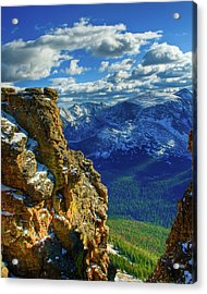 Rock Cut First Snow Rocky Mountain Natl Park Acrylic Print by Harry Strharsky
