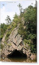 Rock Formation On  The North Fork Of The South Branch Of The Potomac River Acrylic Print by Carolyn Postelwait