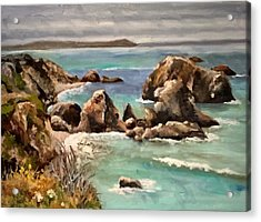 Rock Forms With Sea Acrylic Print