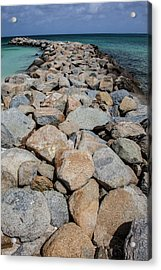 Rock Jetty Of The Caribbean Acrylic Print by David Letts