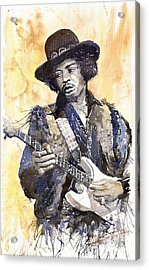 Rock Jimi Hendrix 01 Acrylic Print by Yuriy  Shevchuk