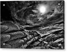 Rock Ledge With Swirling Sky Acrylic Print by Gary Zuercher