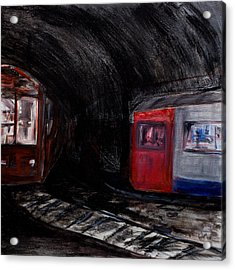 Rock Me London Underground Acrylic Print by Emma Kinani