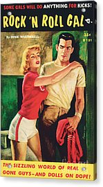 Acrylic Print featuring the painting Rock 'n Roll Gal by Owen Kampen