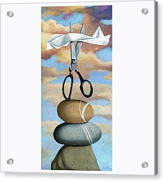 Acrylic Print featuring the painting Rock, Paper, Scissors by Linda Apple