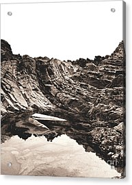 Acrylic Print featuring the photograph Rock - Sepia Detail by Rebecca Harman