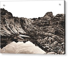 Acrylic Print featuring the photograph Rock - Sepia by Rebecca Harman