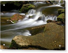 Acrylic Print featuring the photograph Rock Water And Moss by Timothy McIntyre